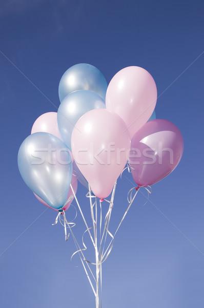 Renkli balonlar mavi gökyüzü gökyüzü doğa doğum günü Stok fotoğraf © carenas1