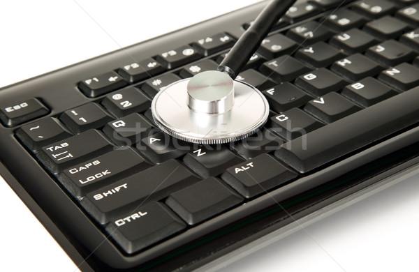 Sztetoszkóp billentyűzet gyógyszer fekete számítógép egészség Stock fotó © carenas1