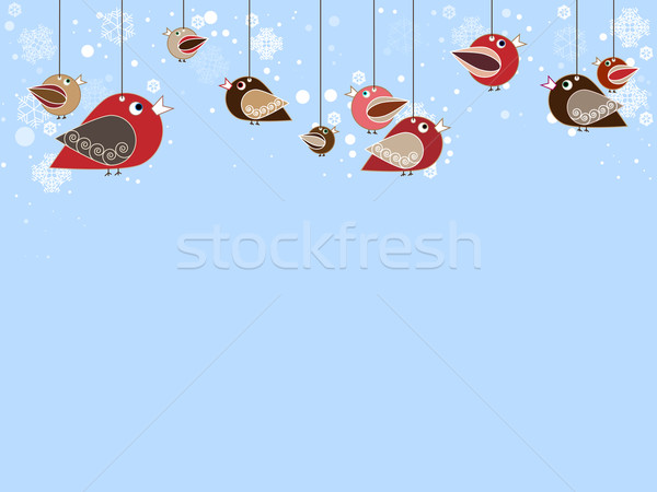 Singing birds with beatiful falling snowflakes Stock photo © carenas1