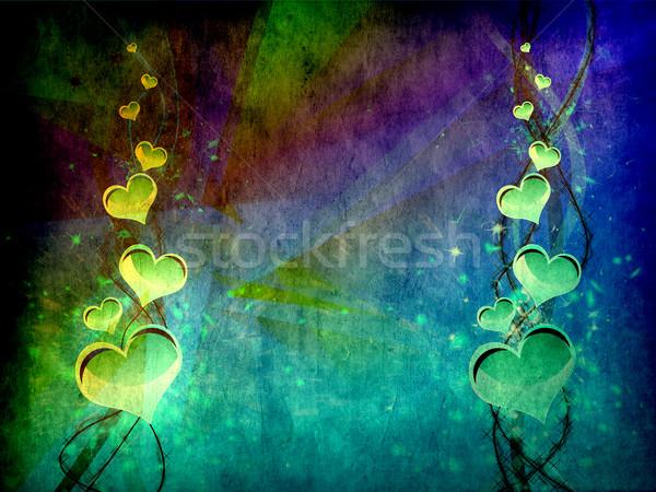 Kalp sevmek boyut grunge Stok fotoğraf © carenas1