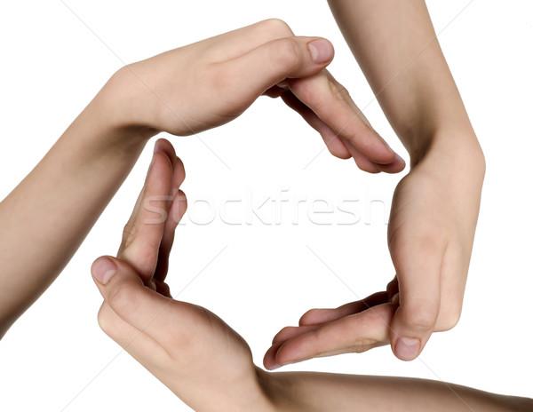 Eller çocuklar daire biçim arka plan Stok fotoğraf © carenas1
