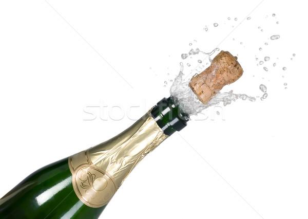 Foto stock: Explosão · verde · champanhe · garrafa · cortiça · cair