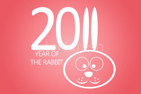 Nowy rok 2011 królik kłosie numer jedenaście Zdjęcia stock © carenas1
