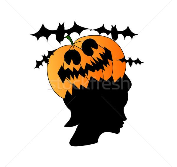 Woman head with pumpkin on it, halloween concept Stock photo © carenas1