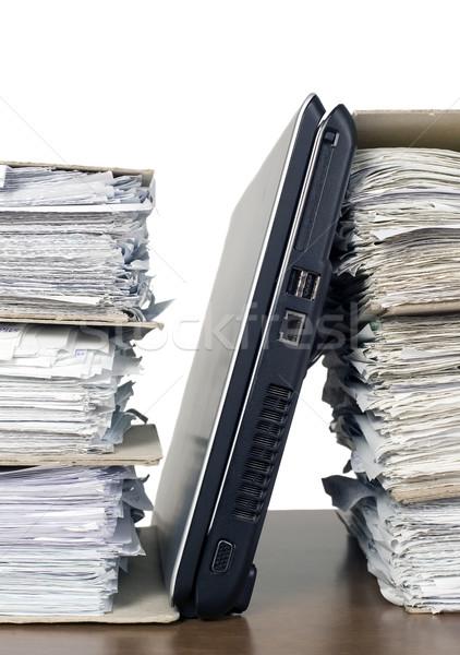 Documenten laptop toetsenbord monitor communicatie zwarte Stockfoto © carenas1