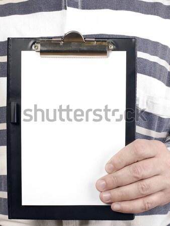 Férfi tart tabletta ír csíkos póló Stock fotó © carenas1