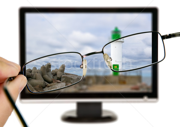 Man vuurtoren display bril natuur landschap Stockfoto © carenas1