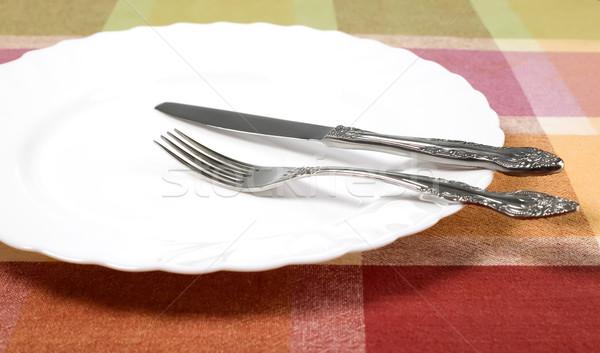 プレート ナイフ フォーク 表 白 キッチン ストックフォト © carenas1
