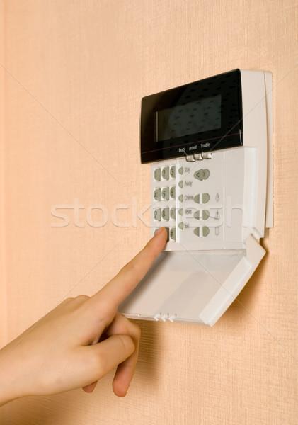 Ujj biztonság megérint kulcs fekete fehér Stock fotó © carenas1