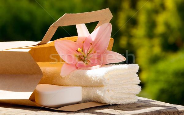 Toalla flor rosa blanco toallas verde Foto stock © carenas1