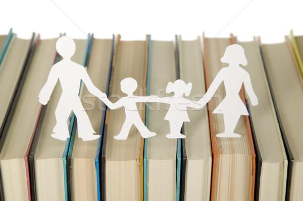 Aile kâğıt kitaplar okul eğitim anne Stok fotoğraf © carenas1