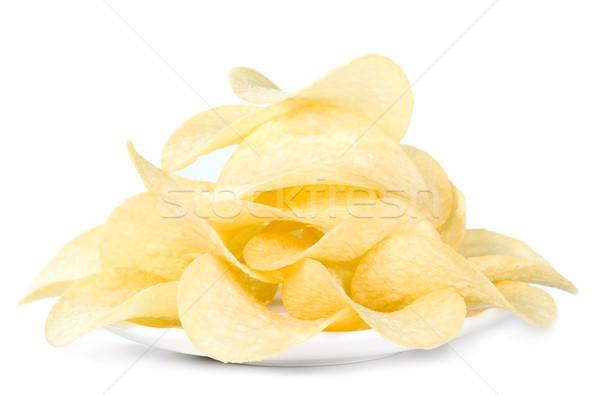 Batatas fritas prato isolado branco comida festa Foto stock © carenas1