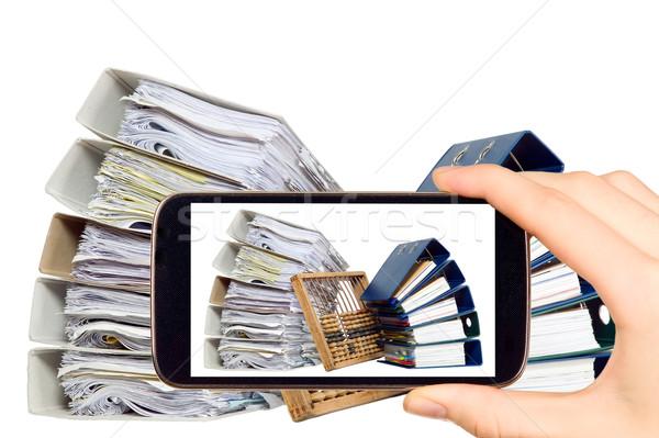 Férfi elvesz fotó iratok abakusz okos Stock fotó © carenas1