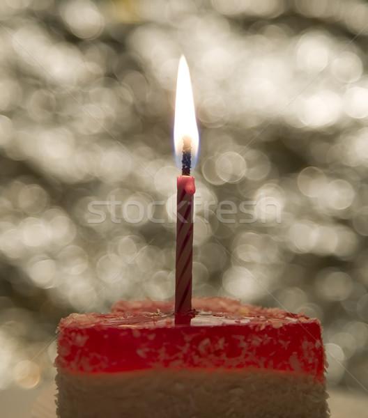 Cake kaars viering evenementen vlam partij Stockfoto © carenas1
