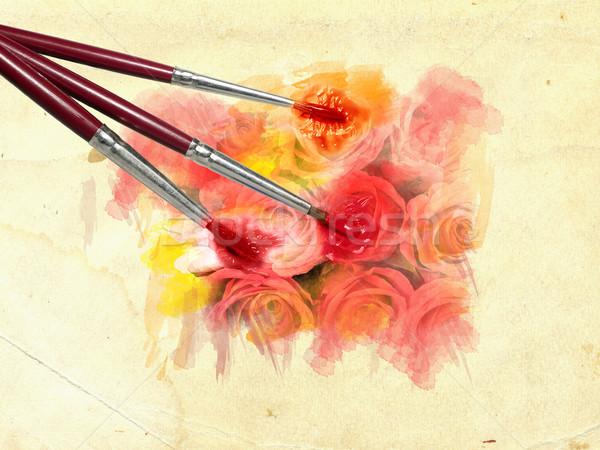 Cepillo pintado colorido rojo flores amarillas grunge Foto stock © carenas1