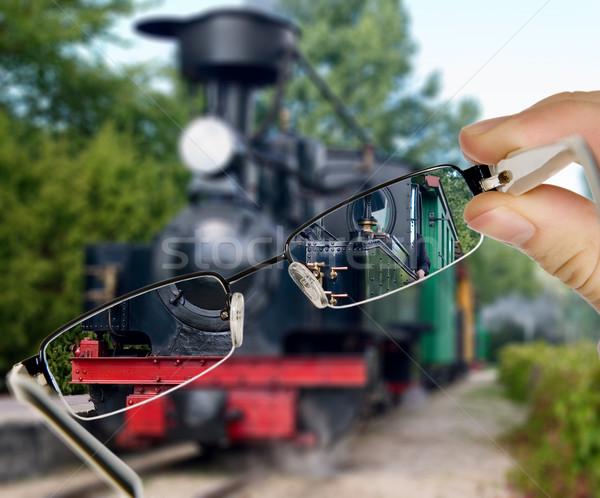 Man vintage trein display bril ontwerp Stockfoto © carenas1