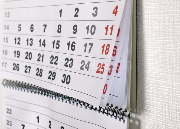Calendrier dates mois suspendu mur affaires Photo stock © carenas1