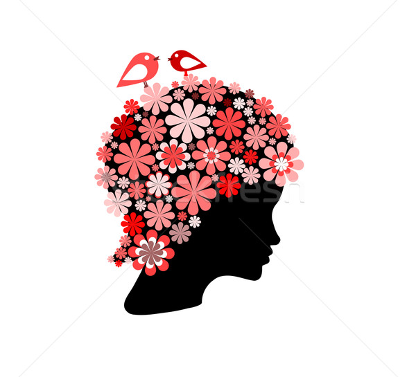 Woman covered with flowers and birds Stock photo © carenas1