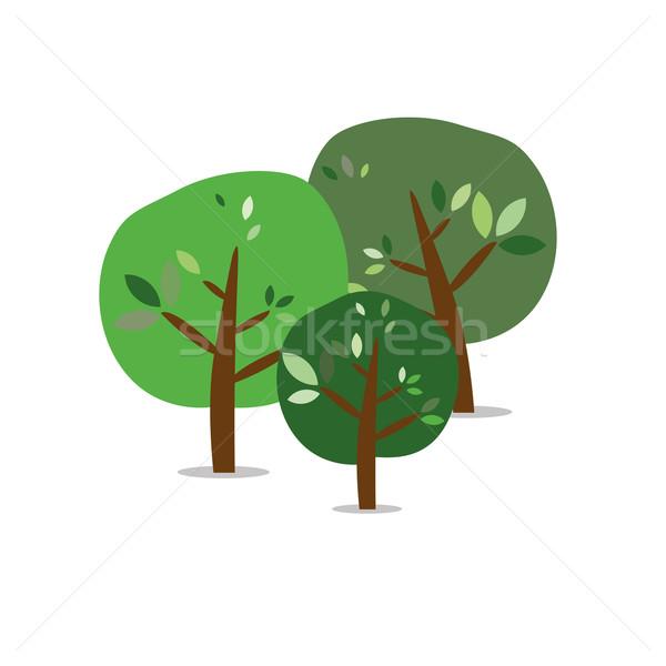 üç yalıtılmış renkli yaz ağaçlar ahşap Stok fotoğraf © carenas1