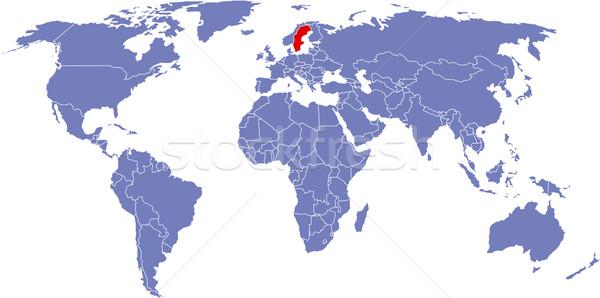 Global mapa mundo Suécia fundo terra Foto stock © carenas1