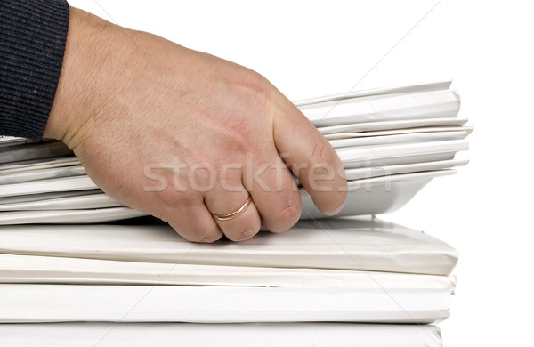 Man is holding block of finance documents Stock photo © carenas1