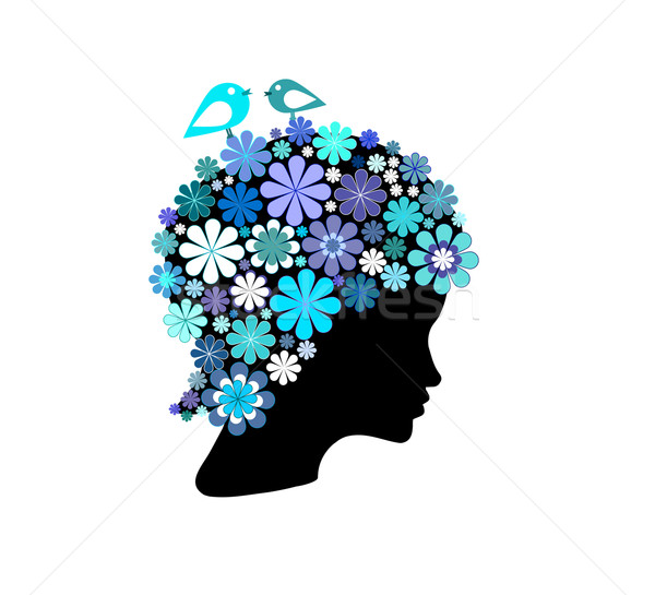 Shape of woman head covered with colorful flowers Stock photo © carenas1