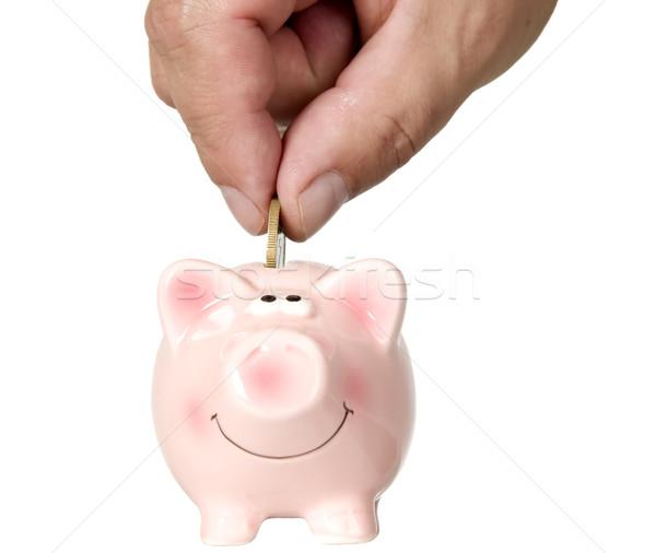 Stock fotó: Férfi · pénz · takarékosság · disznó · pénzügy · fehér