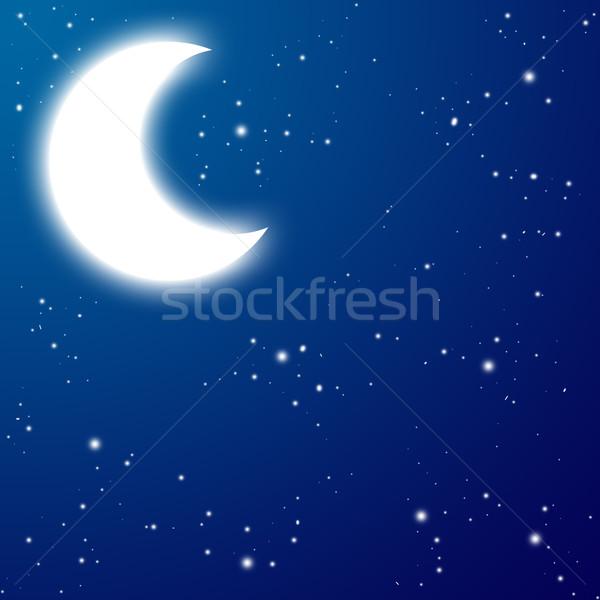 Lune nuit étoiles résumé paysage neige Photo stock © carenas1