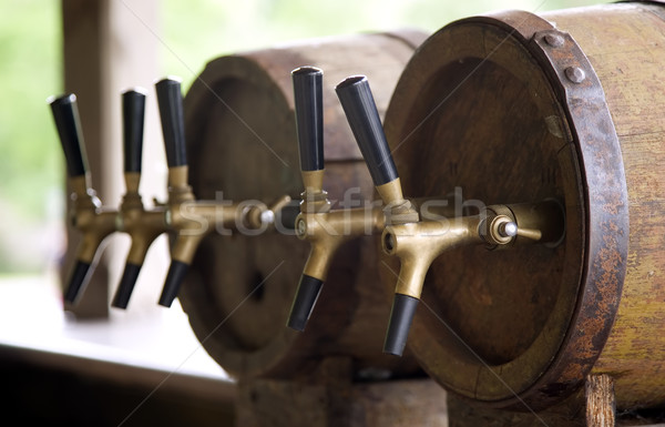Wooden old barrels with pipe for beer Stock photo © carenas1