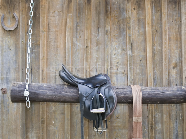 Wooden scramble with metal chain Stock photo © carenas1