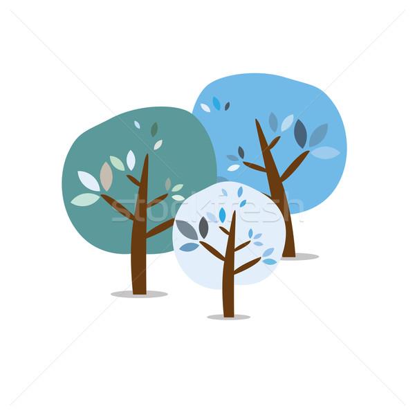 Tres aislado colorido otono árboles madera Foto stock © carenas1