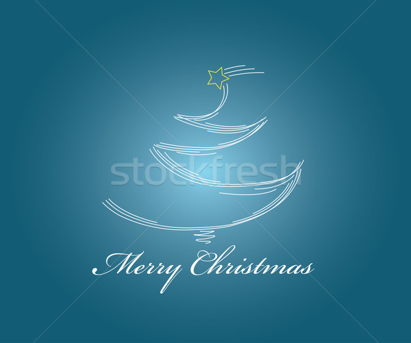 Shining christmas tree with lines and greeting Stock photo © carenas1