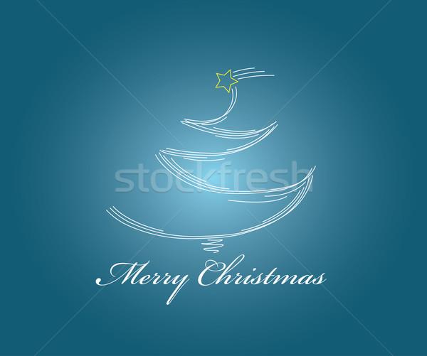 Noel ağacı hatları tebrik kartı kırmızı soyut Stok fotoğraf © carenas1