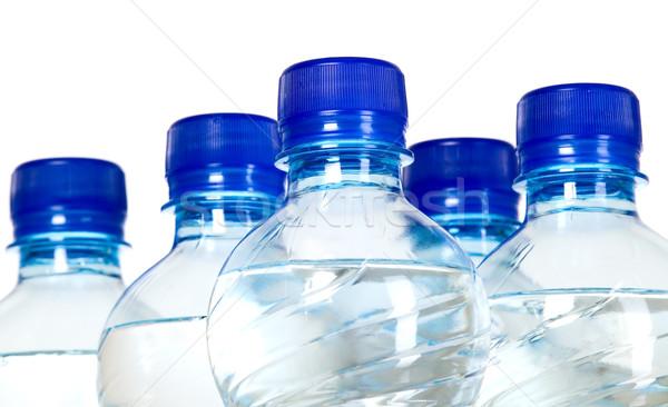 Agua mineral botellas azul plástico corcho beber Foto stock © carenas1