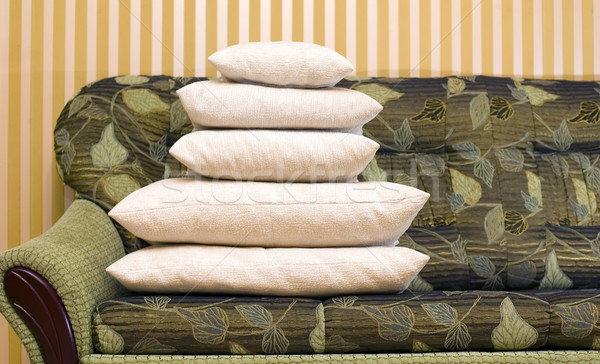 Many pillows on green couch Stock photo © carenas1