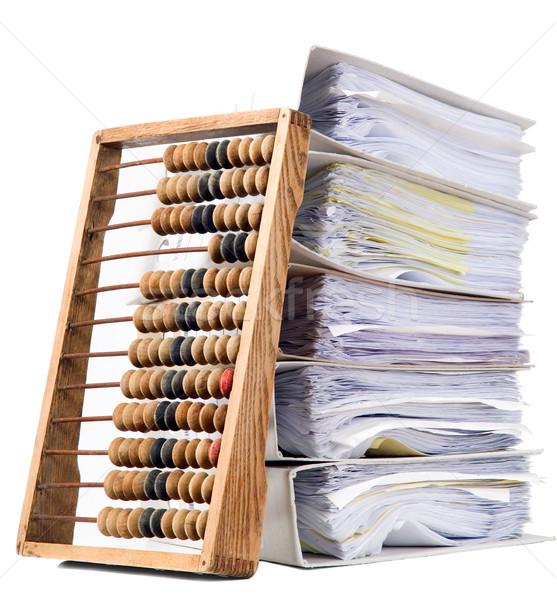 Matemático calculadora ábaco documentos velho monte Foto stock © carenas1
