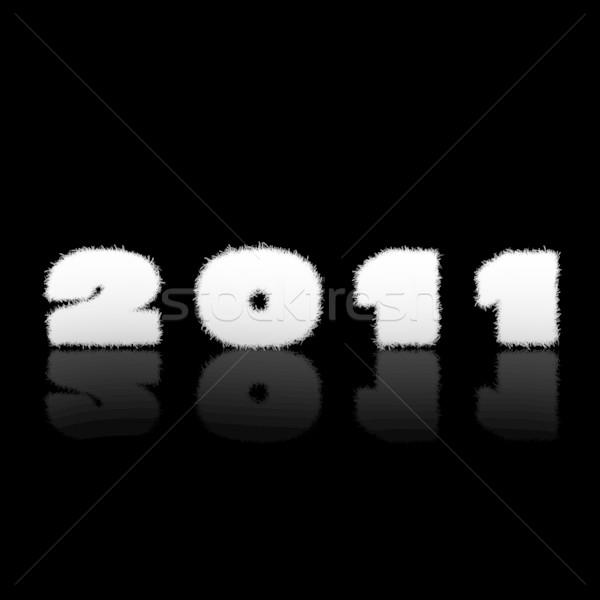 Photo stock: Happy · new · year · 2011 · étiquette · noir · heureux · résumé