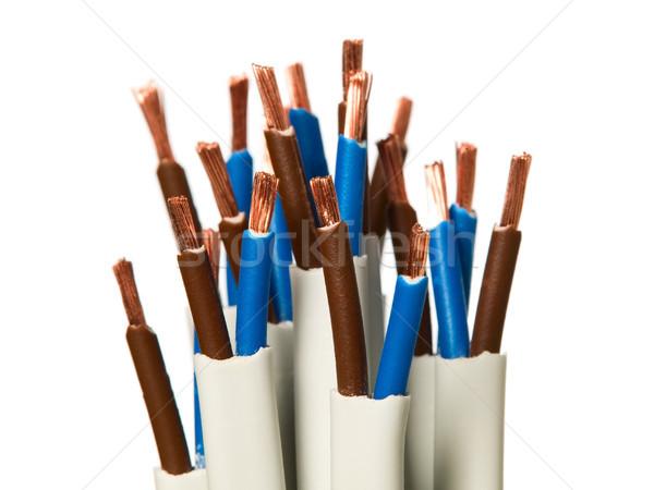 Primer plano eléctrica cables blanco cable industrial Foto stock © carenas1