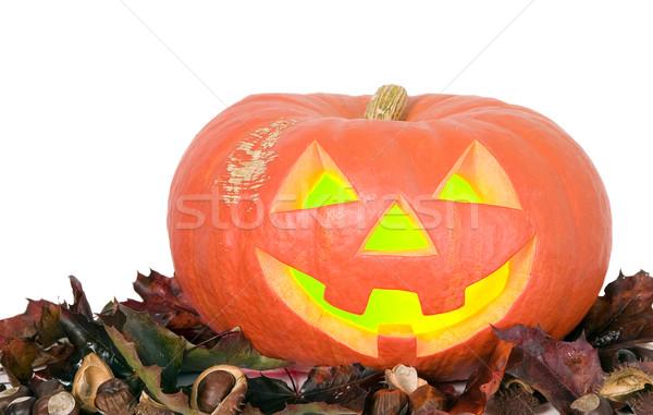Arrepiante abóbora halloween festa olhos nariz Foto stock © carenas1