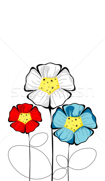 Three isolated colorful bloomed flowers Stock photo © carenas1