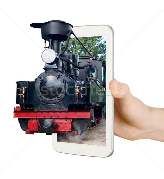 Stockfoto: Oude · vintage · trein · scherm · mobiele · telefoon · man