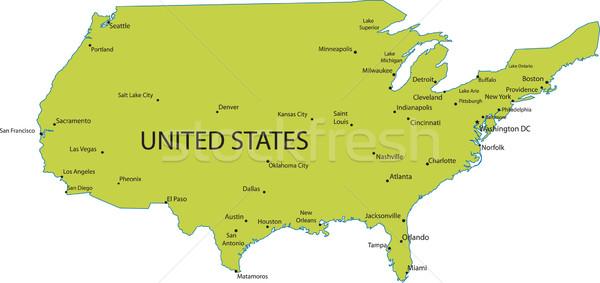 Map of USA with major cities Stock photo © carenas1