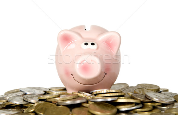 Photo stock: Porc · souriant · permanent · argent · Finance