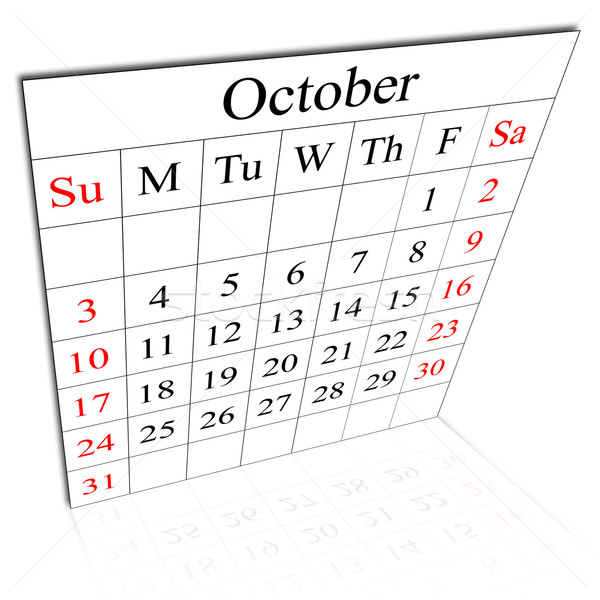 Calendar of October Stock photo © carenas1