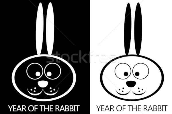 2011 czarno białe królik symbol rok szczęśliwy Zdjęcia stock © carenas1