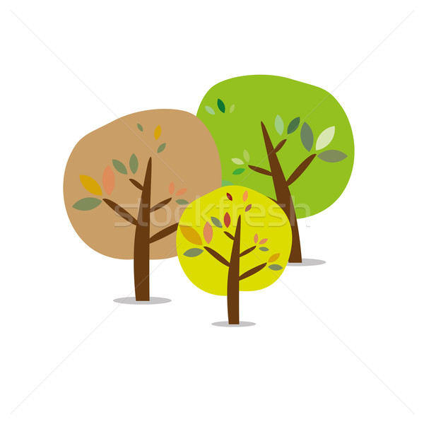 Three isolated colorful autumn trees Stock photo © carenas1