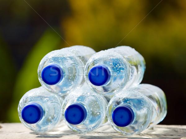 ásványvíz üvegek természet kék műanyag dugó Stock fotó © carenas1