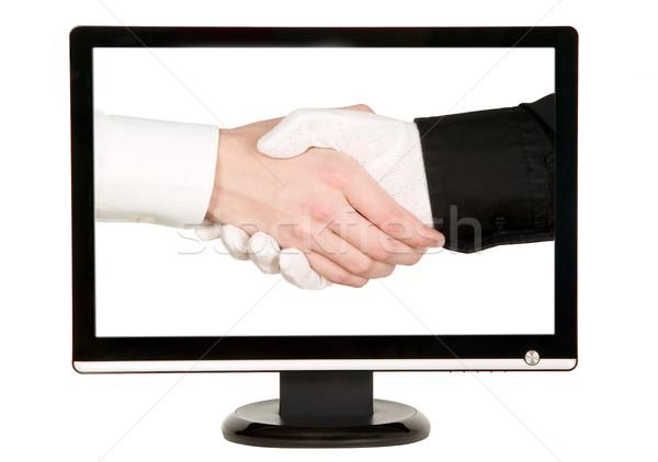 Hands shaking, LCD monitor Stock photo © carenas1