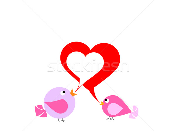 Two lovely birds are singing about love Stock photo © carenas1