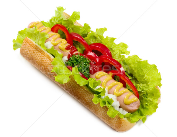 Smakelijk hot dog voedsel geïsoleerd hond diner Stockfoto © carenas1